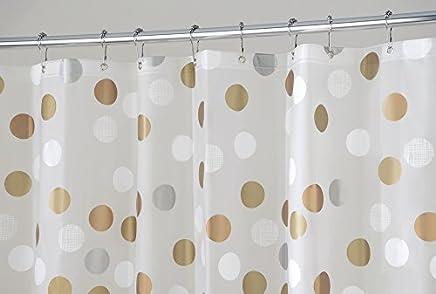 mDesign Cortina de baño antimoho y libre de PVC – Cortina ducha con 12 ojales reforzados – Cortina bañera impermeable – gris/crema
