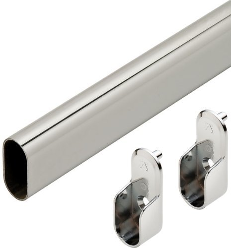 48 Polished Chrome Closet Rod With 2 End Supports