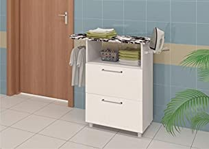 Ditalia Wooden Two Pull Out Doors Cabinet With Ironing Board, White - H 85 cm x W 90 cm x D 37 cm