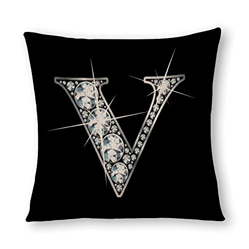 perfecone Home Improvement Cotton Pillowcase Double Letter V Diamond Bling Design Sofa and car Pillow case 1 Pack 21.7 x 21.7 inches/55 cm x 55 cm