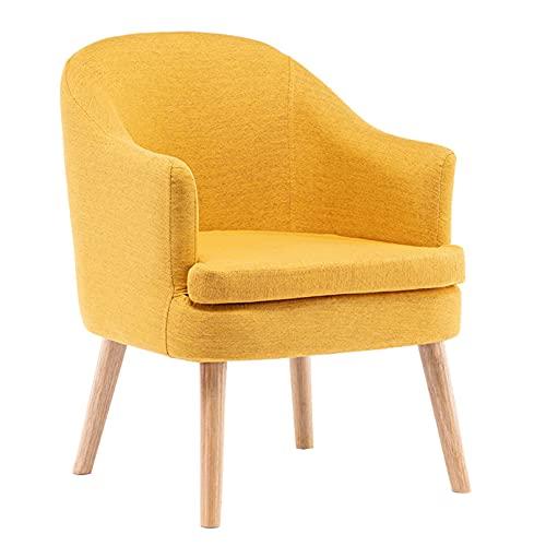 Sillón Nórdico Escandinavo butaca Comedor salón Dormitorio, sillón Acolchado con Reposabrazos y Patas de Madera,Amarillo