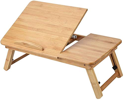 Mesa para portátil - Mesa de Cama portátil de bambú - Mesa para portátil con Tapa Ajustable - para portátil, Desayuno en la Cama(50 * 30cm)