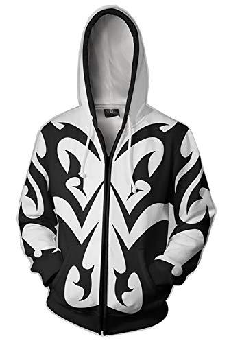 Karnestore Organisation XIII Kingdom Hearts Xemnas - Abrigo con capucha y cremallera (talla XXL), color blanco