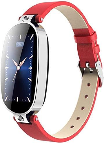 Reloj Inteligente Pulsera Fitness Podómetro Presión Arterial Recordatorio de Llamadas Pantalla Color Salud Impermeable Bluetooth Reloj-Rojo Plata