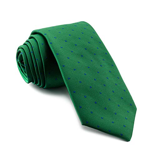 Cencibel Smart Casual Corbata Lunares o Topos (Fondo Verde Lunares Azules)