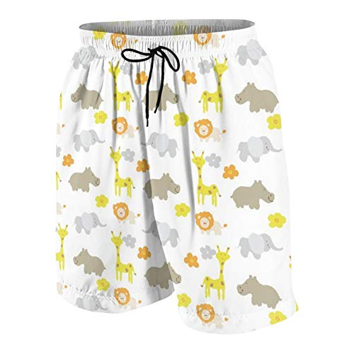De Los Hombres Casual Pantalones Cortos,Animal Bebe,Secado Rápido Traje de Baño Playa Ropa de Deporte con Forro de Malla