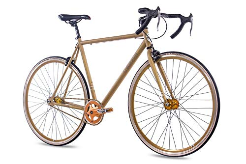 CHRISSON 28 Zoll Vintage Fixie Singlespeed Retro Fahrrad FG Road 1.0 Gold -...