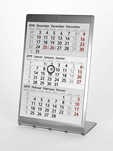 HiCuCo 3-Monats-Tischkalender für 2 Jahre (2021 + 2022) - Aufstellkalender - Edelstahl - TypA2