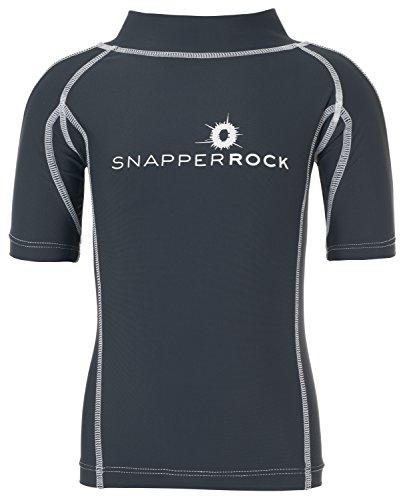 Snapper Rock Jungen & Mädchen UPF 50+ UV Schutz Kurzarm Bade Shirt Rashie für Kinder & Jugendliche, Blau (Navy/Weiß), 3-4 Jahre, 98-104cm