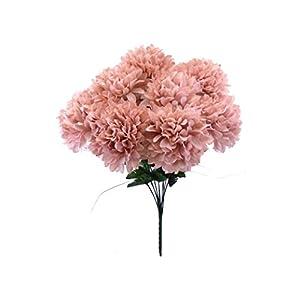 Chrysanthemum Mum Ball Bush 10 Artificial Silk Flowers 19″ Bouquet 2302 Blush Pink