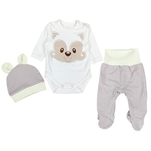 TupTam Baby Unisex Bekleidungsset mit Aufdruck 3 TLG, Farbe: Fuchs Beige, Größe: 56