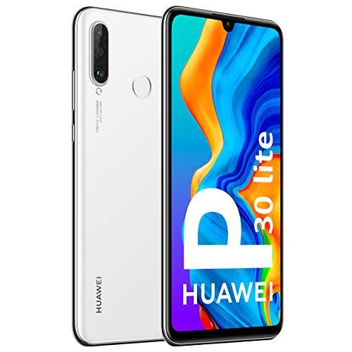 Huawei P30 Lite Smartphone débloqué 4G (6,15 pouces - 128Go - Double Nano SIM - Android 9.0) Blanc nacré [Version Française]