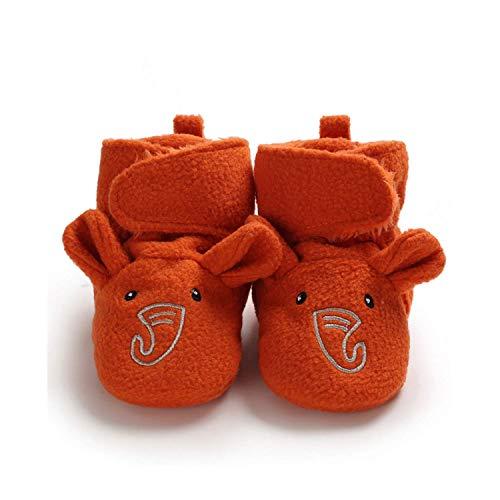 Chaussons Bébé Fille Garçon Chaussures en Peluche Éléphant Pantoufles Souple Haute Aide Premier Pas Hiver Maison Cadeau Nouveau-Né 0-15 Mois(Orange,11)