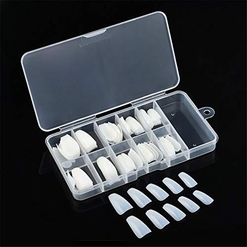 Homeofying 1 caja de bailarina larga falsa uñas arte consejos forma de coffin cubierta completa DIY uñas postizas