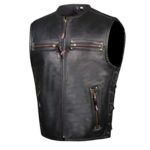 Men's Motorcycle Buffalo Leather Gun Pocket Armor Biker Club Vest Side Laces XXL