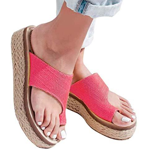 JFFFFWI Sandalia de Plataforma cómoda para Mujer Sandalias de corrección de Dedo Gordo Zapatos correctores de juanetes Plataforma de Cuero de PU Suela Suave con Soporte de Arco de Dedo Cuña Cuerda d