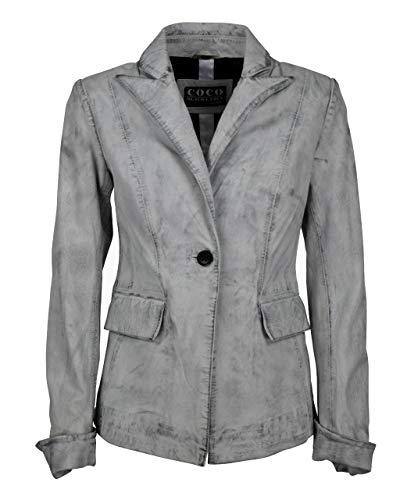 COCO BLACK LABEL since1986 Lederjacke für Damen Lederblazer Klassische Lederjacke mit Knopf Lammnappa Alina, Farbe:D-Art Weiß, Größe:34