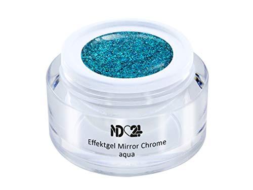 5ml - UV LED Effekt-Gel MIRROR CHROME aqua - BLAU - Effekt Gel Naildesign FarbgGel NagelGel für Nageldesign Modellage - Nail Art Gel - Studio Qualität - MADE IN GERMANY