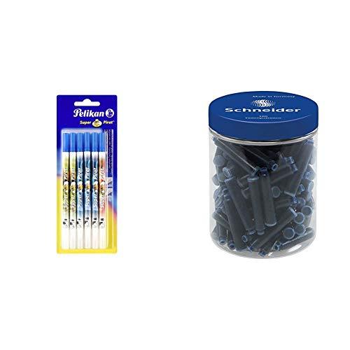 Pelikan - Pennarelli per cancellare l inchiostro, Super-Pirat 850, 6 pezzi & Schneider P006803 Flacone da 100 Cartucce