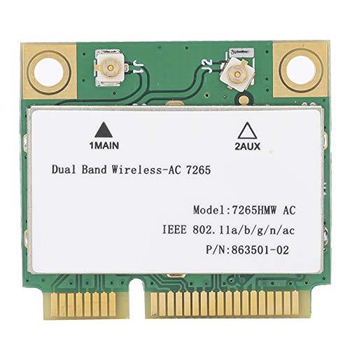 Tarjeta Mini PCI-E WiFi, Tarjeta De Red con Adaptador Inalámbrico De Doble Banda, Tarjeta Mini PCI-E Interfaz WiFi, 802.11AC 7265HMW AC