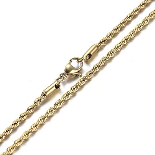 18K純金コーティング ステンレス編み込みロープ フレンチロープネックレスチェーン 508 (長さ50�p, 幅 4�o)