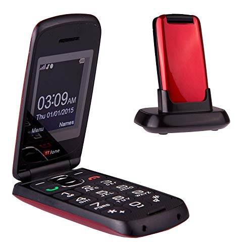 TTfone Star Big Button Simple Easy To Use Flip Mobile Phone Pay As You Go (Red, Vodafone with £20 Credit)
