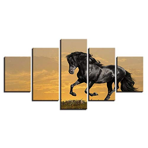 ZXYJJBCL Galloping Black Horse Animal Fresh Look Color 5 Piece Wall Art Picture For Home Modern Decoration...