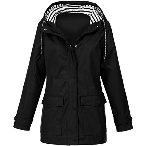 KaloryWee Veste De Pluie Femmes Imperméable avec Capuche Sport Manteau Grande Taille, Coupe-Vent Raincoat Windproof Cape Poncho Poche pour Voyage Randonnée