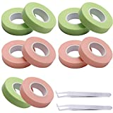 RONRONS 10 Rolls Professional Eyelash Tape Adhesive Non-woven Fabric Eyelashes Tapes Lash Sticky Makeup Supplies Tool for Beauty Salon Girl Women, With 2 Stainless Steel Grafting Eyelash Tweezers Free