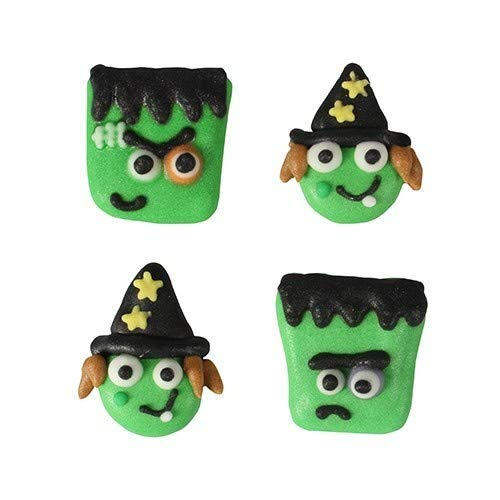 Monster & Witch Faces Sugar Pipings - 12 Piece