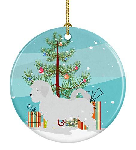 Caroline's Treasures Maltese Merry Christmas Tree Ceramic Ornament, Multicolor