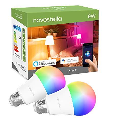 Ampoule Connectée LED RGB+2700K Ampoule WIFI E27 9W Equivalent de 75W 900LM, Compatible avec Alexa, Echo, Google Home et IFTTT, Novostella Ampoule Multicolore, 2PCS
