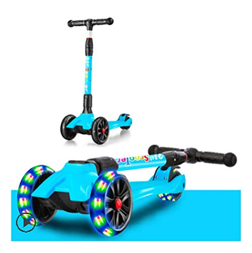 Dzwyc Scooter Colorful Rod Scooter Altura Ajustable Lean para dirigir Flashing PU Ruedas de PU 3 Ruedas Kick Scooters Lean-TO-Stare, para NIÑOS NIÑOS NIÑAS Patinetes (Color : Blue)