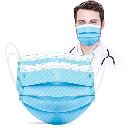 Masken Mundschutz, Einweg Masken 50 Stück, Medizinische Maske EN14683 Type II, 3-lagige Nasen Mundschutz Maske Unisex, Blau