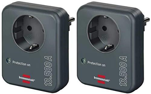 Brennenstuhl Steckdosenadapter (mit Überspannungsschutz 13.500 A, Adapter als Blitzschutz für Elektrogeräte) anthrazit (2 Stück)
