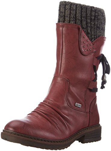 Rieker Damen 94773 Kurzschaft Stiefel, Rot (Wine/Black-Grey/35), 39