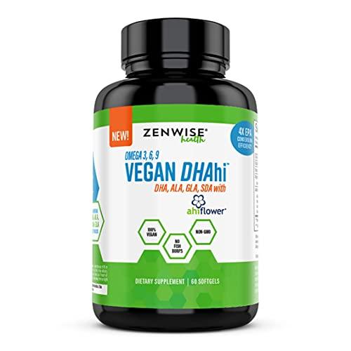 Vegan DHA Supplement - Omega 3 6 9 Support with Algae & Ahiflower Blend - Non Fish Oil Alternative - ALA, GLA, SDA Fatty Acids - Immune, Joint, Heart & Brain Health Booster for Adults - 60 Softgels