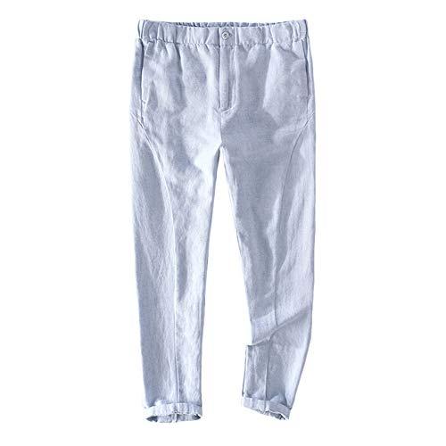 Insun Uomo Pantaloni Estivi Lino Casual Baggy Pantaloni da Spiaggia Blu 48