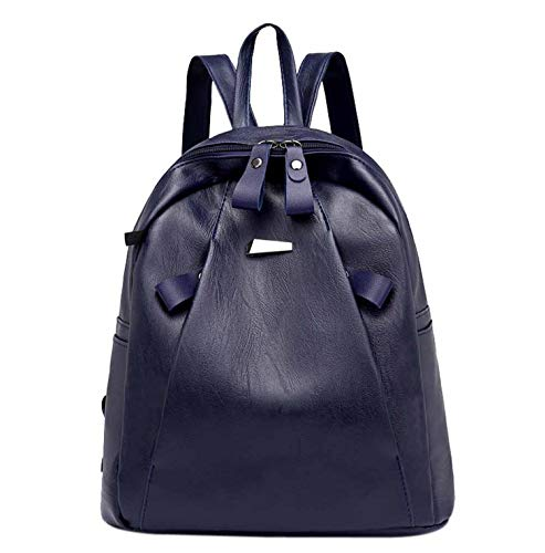 Vintage Leder Anti-Diebstahl-Rucksack für Damen, Einbruchsicherer, lässiger Rucksack für Studenten, Headset, Reisetasche, himmelblau (blau) - Shoulder-Handbags