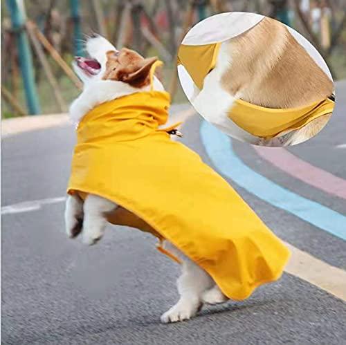Podazz Hond regenjas kleine middelgrote hond poncho met capuchon, huisdier PU regenjas voor honden katten kleding, ultralicht ademend hond regenjas voor puppies kleine middelgrote honden geel L