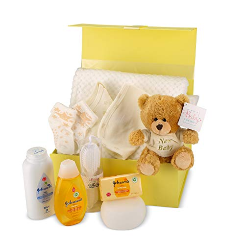 Baby Gift Set - Blue Hamper Keepsake Box with Baby Clothes, Newborn Essentials and Teddy Bear