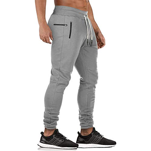 SHOULIEER Pantalones de Fondos de chándales de los Hombres Pantalones de chándal Flacos Pantalones de Cremallera Pantalones de Pista Jogging Light Gray Cn 2XL