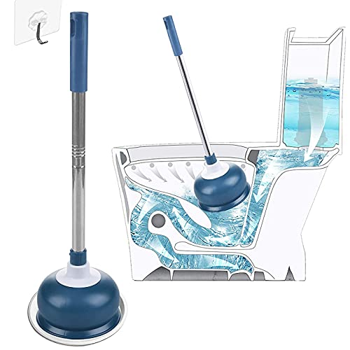 AUMUA Heavy Duty Toilet Plunger for Bathroom with Holder, Toilet Clog Remover Tool - Strong Suction, Blue