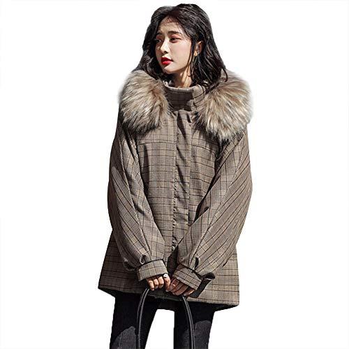 WX-ICZY Frauen Winterjacke, Webpelz Revers Plaid warme Baumwolle gefütterte Knopf Manschette kurzer Abschnitt dünne Jacke war,XL
