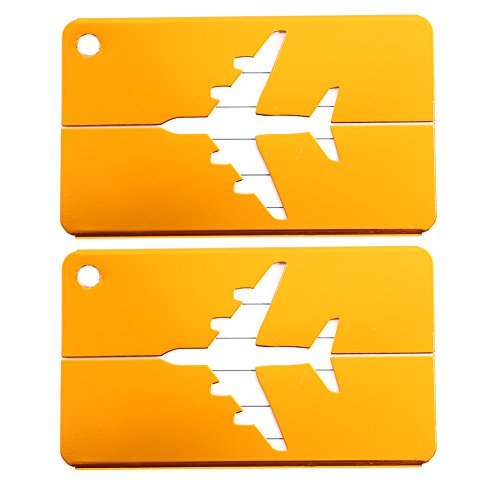 2PCS Luggage Tags for Women Aluminium Luggage Tag for Suitcases Travel Bag Baggage ID Label Tags with Stainless Steel Loop Gold