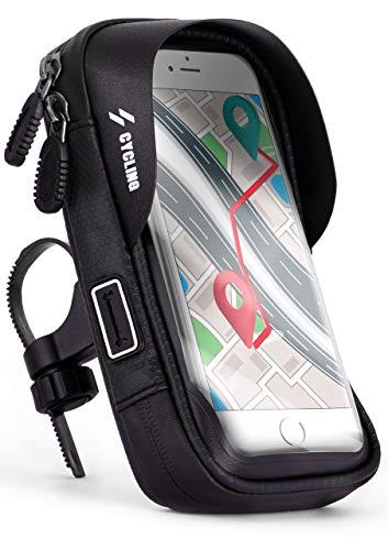 ONEFLOW® Wasserfeste Lenkertasche mit bedienbarem Sichtfenster für Huawei P Reihe | Inkl. Kabelöffnung + Sonnenvisier und Karten- + Geldfach, Schwarz