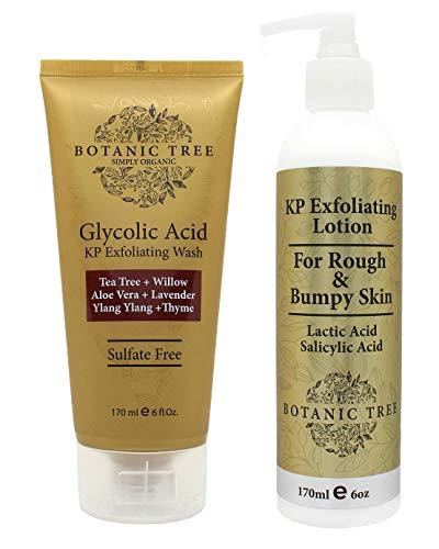 Botanic Tree Keratosis Pilaris Treatment Set - Glycolic Acid KP Bump Eraser Body Scrub and Body Lotion Exfoliator Kit - Natural AHA Body Wash Set for Acne, Rough, Bumpy Skin, Chicken Skin Treatment