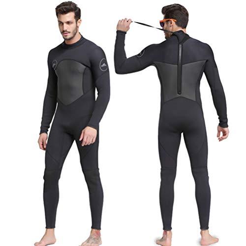 HERAHQ Traje de neopreno de 3 mm, para hombre, cálido, de alta elasticidad, traje de surf de cuerpo completo, para pesca submarina y snorkel, surf, canoa, buceo, color negro, XL
