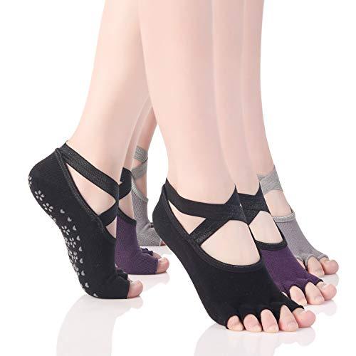 HeHe 3 paar pilates sokken met tenen antislip sportsokken met rubberen zool ademend ideaal voor yoga dans fitness van maat 35 tot 40 (zwart/grijs/paars)