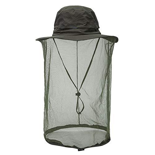 HshDUti Filet tête de Moustique pour Le Camping en Plein air d'été Protecteur de Visage Guêpe Insecte Chapeau de Soleil Amry Green